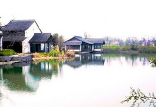 Houses beside River in Xixi Wetland